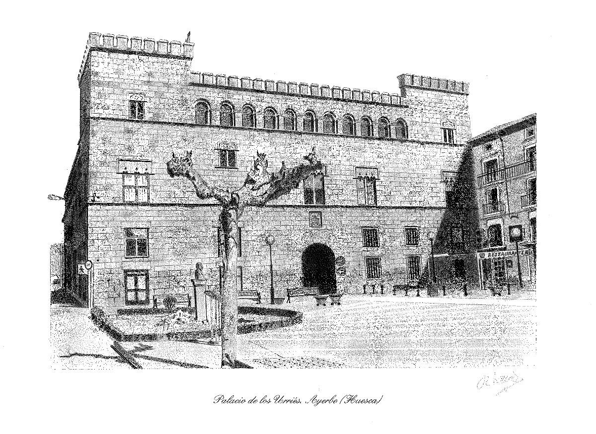 Palacio de los Urriés de Ayerbe en el año 1952. Dibujo: Octavio Piedrafita.